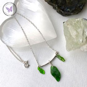 Diopside Chip Silver Bar Necklace